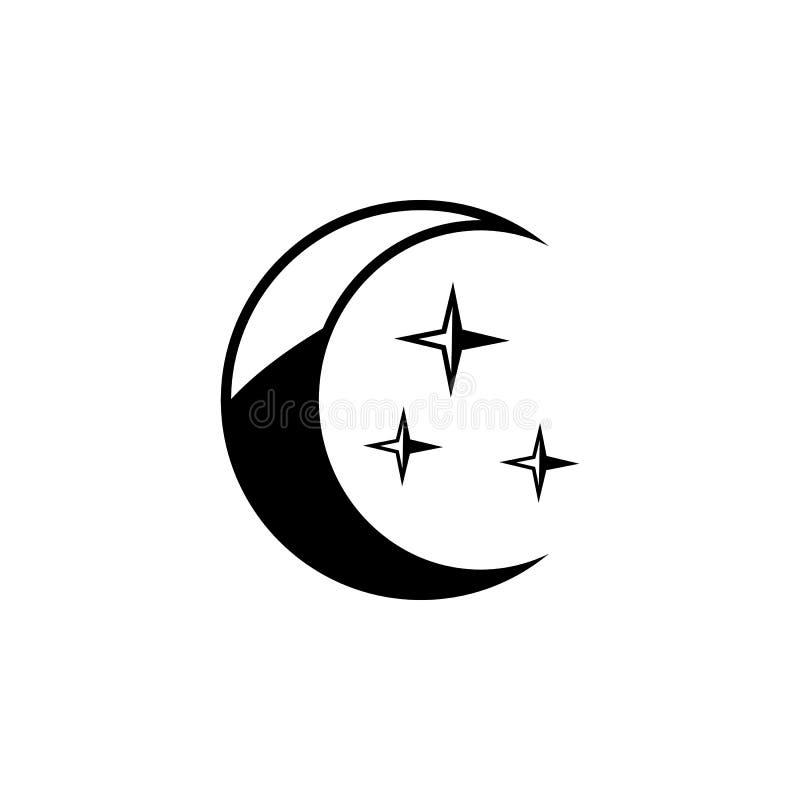 Icône de croissant de lune Élément d'icône de temps Conception graphique de qualité de la meilleure qualité Signes et icône de co illustration stock
