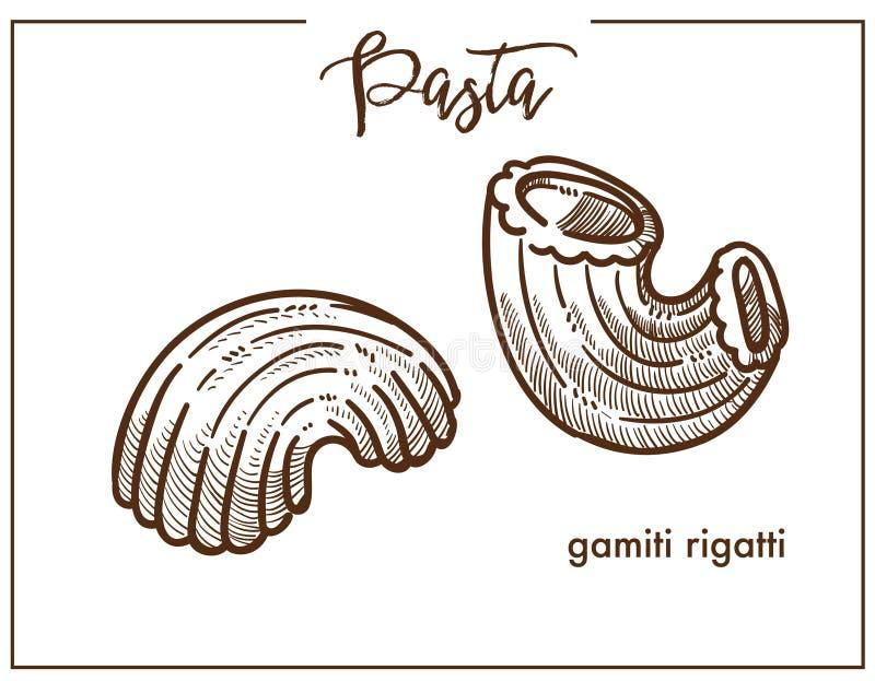 Icône de croquis de craie de Gamiti Rigatti de pâtes pour la cuisine italienne illustration stock