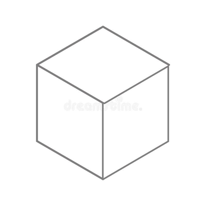 Icône de cube Élément de sécurité de cyber pour le concept et l'icône mobiles d'applis de Web Ligne mince icône pour la conceptio illustration libre de droits