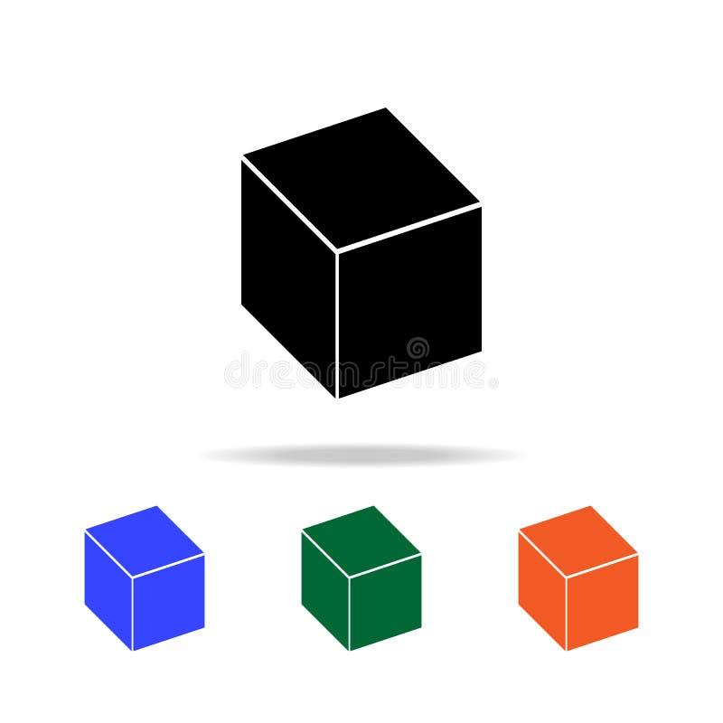 Icône de cube Éléments d'icône simple de Web dans la couleur multi Icône de la meilleure qualité de conception graphique de quali illustration stock
