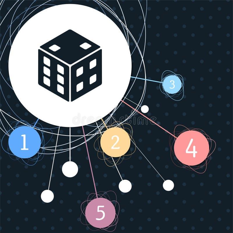 Icône de cube en jeu avec le fond au point et avec le style infographic illustration stock
