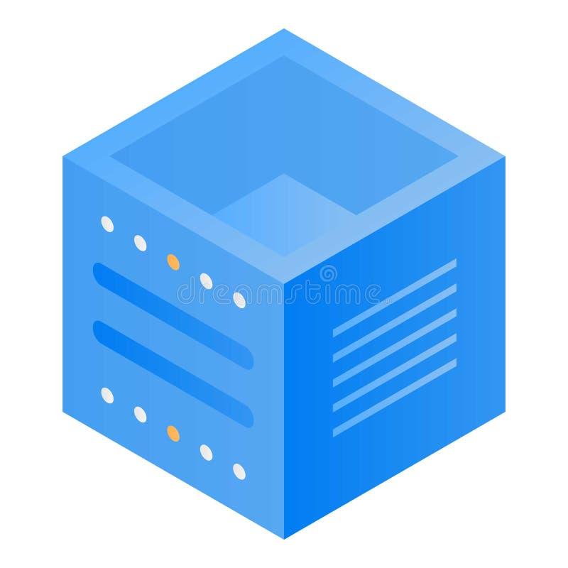 Icône de cube en stockage de données, style isométrique illustration libre de droits