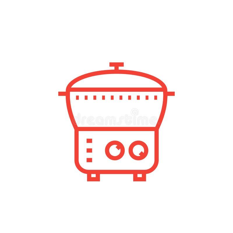 Icône de cuiseur électrique, vapeur, cuiseur multi illustration libre de droits