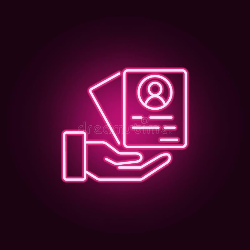 Icône de cv Éléments d'entrevue dans les icônes au néon de style E illustration stock