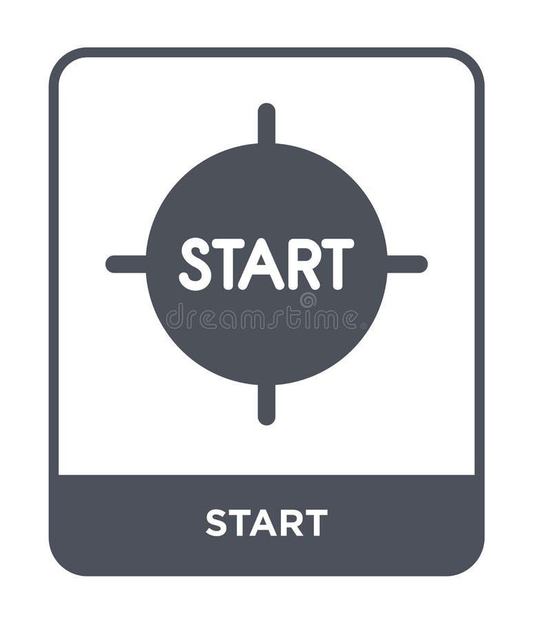 icône de début dans le style à la mode de conception icône de début d'isolement sur le fond blanc symbole plat simple et moderne  illustration stock