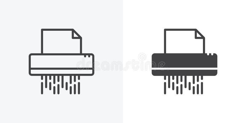Icône de déchiquetage de documents illustration stock