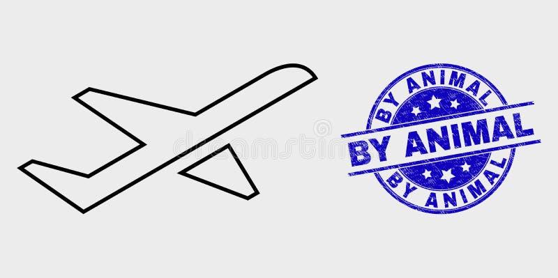 Icône de décollage d'avion de course de vecteur et rayé par le timbre animal illustration libre de droits