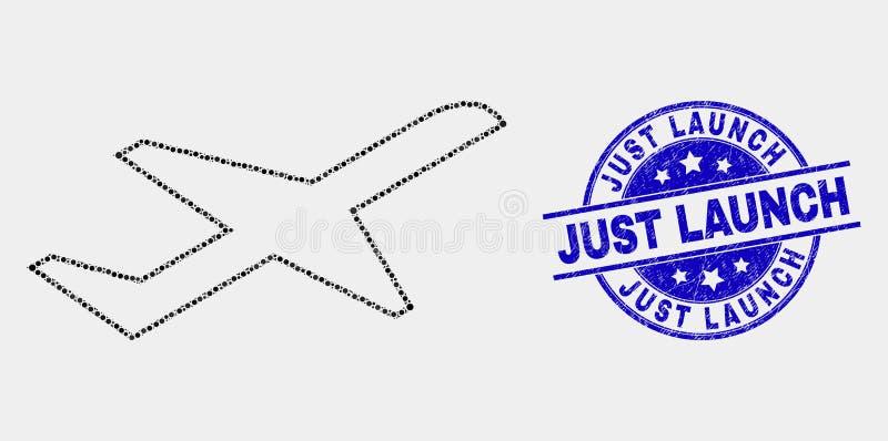Icône de décollage d'avion pointillée par vecteur et joint juste rayé de timbre de lancement illustration de vecteur