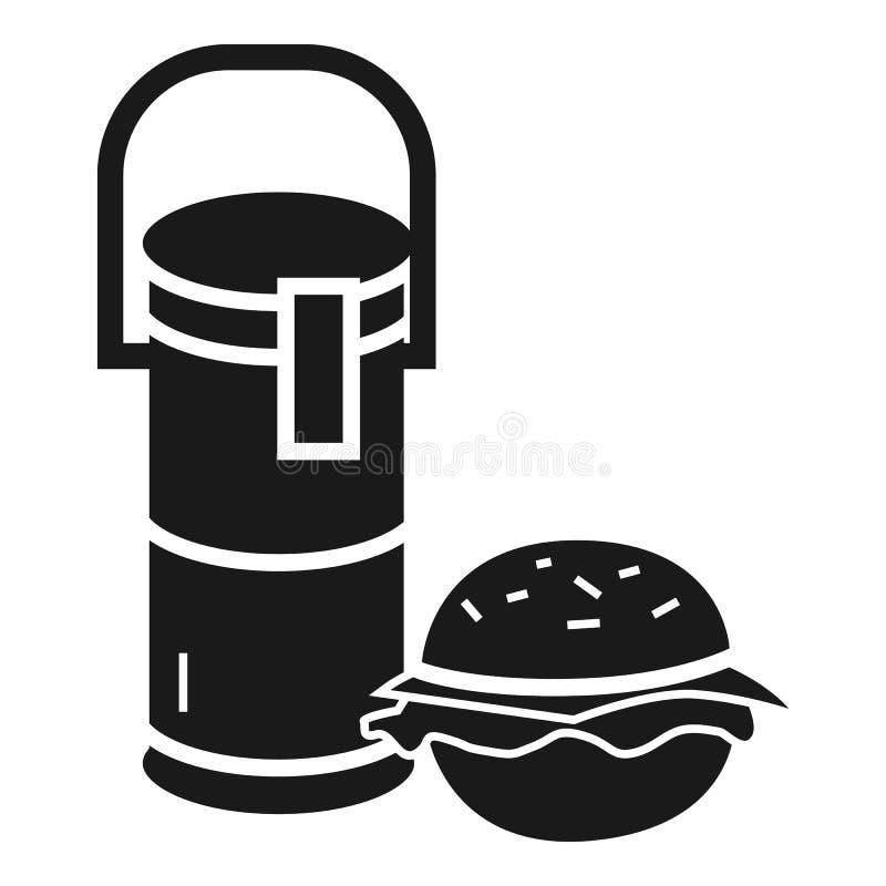 Icône de déjeuner d'hamburger de boissons de thermos, style simple illustration stock