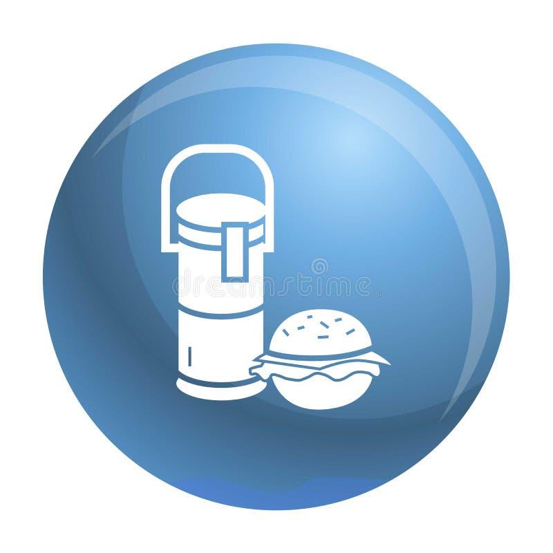 Icône de déjeuner d'hamburger de boissons de thermos, style simple illustration de vecteur