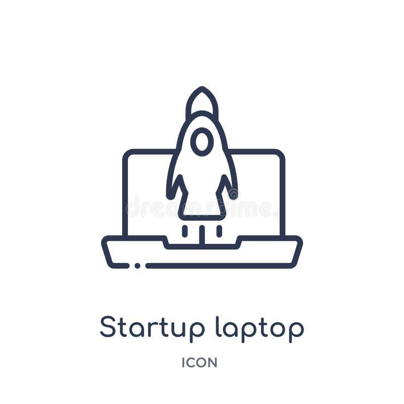 icône de démarrage d'ordinateur portable de la collection de démarrage stategy et de succès d'ensemble Ligne mince icône de démar illustration libre de droits