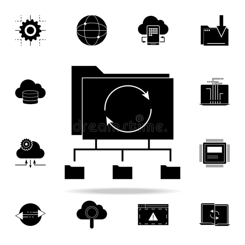 icône de déroulement des opérations de réseau Ensemble universel d'icônes de développement de Web pour le Web et le mobile illustration stock
