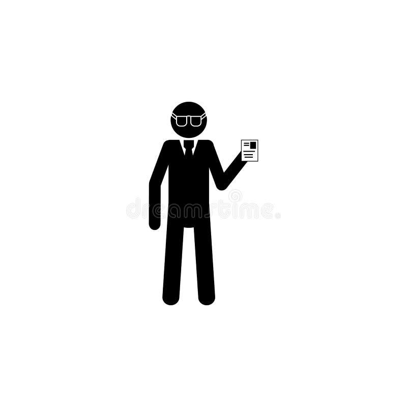 Icône de détective de silhouette Icône d'élément de services spéciaux Icône de la meilleure qualité de conception graphique de qu illustration stock