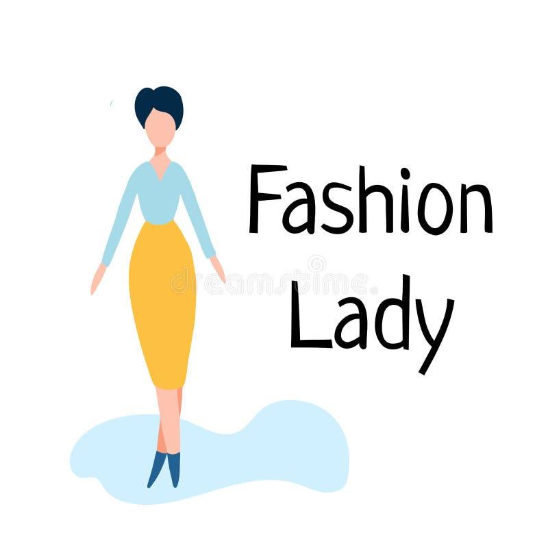 Icône de dame de bureau, directeur féminin, femme d'affaires, mère réussie illustration stock