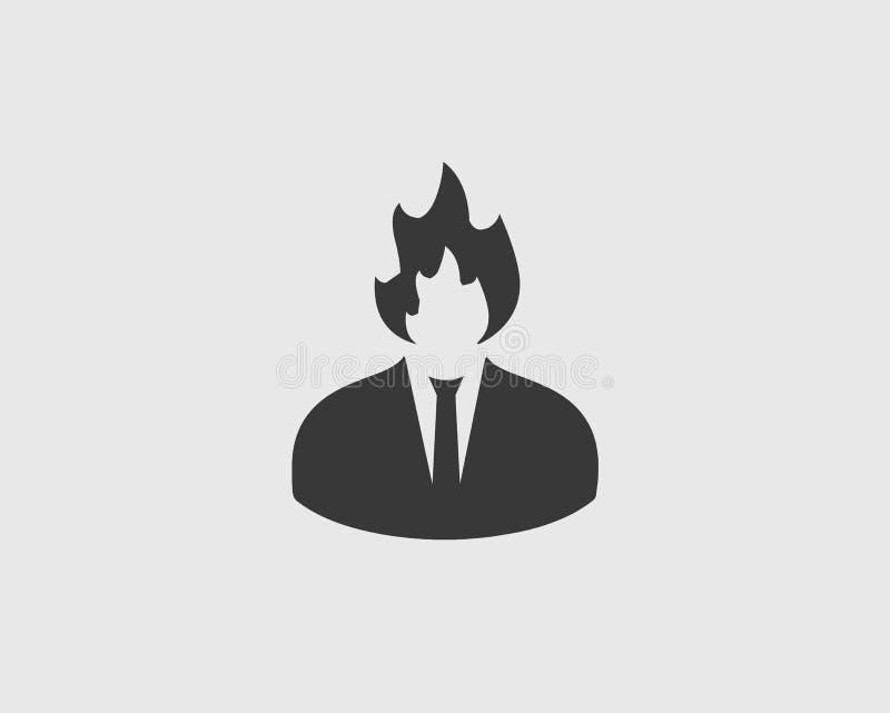 Icône de danger Symbole de feu avec le corps humain illustration de vecteur