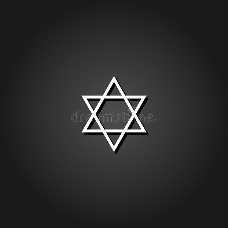 Icône de David d'étoile plate illustration stock