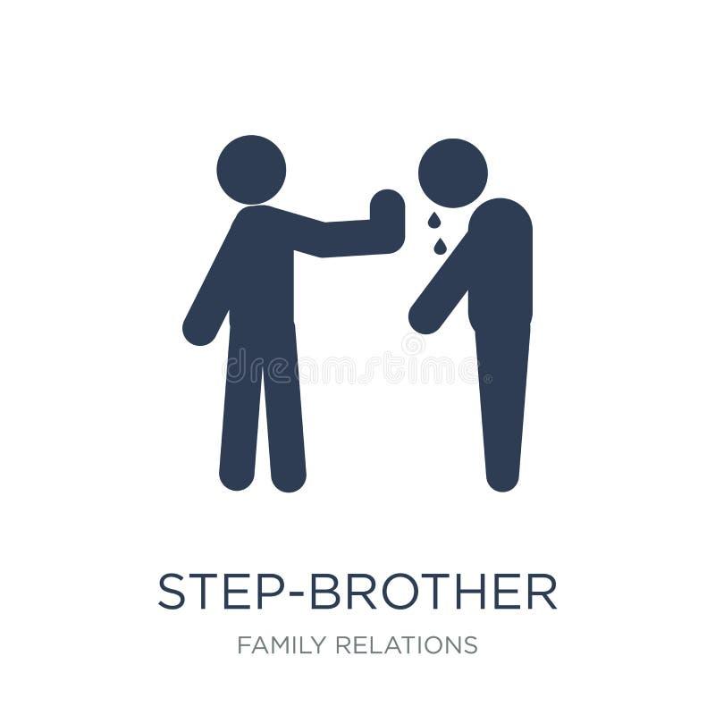 icône de demi-frère Icône plate à la mode de demi-frère de vecteur sur le blanc illustration libre de droits
