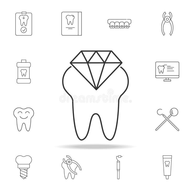 Icône de dent de diamant Ensemble détaillé de ligne dentaire icônes d'ensemble Icône de la meilleure qualité de conception graphi illustration de vecteur