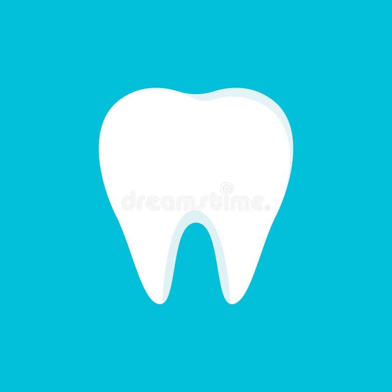 Icône de dents d'isolement sur le fond bleu Concept propre de dent dans le style plat dents de brossage Conception dentaire de cl illustration libre de droits