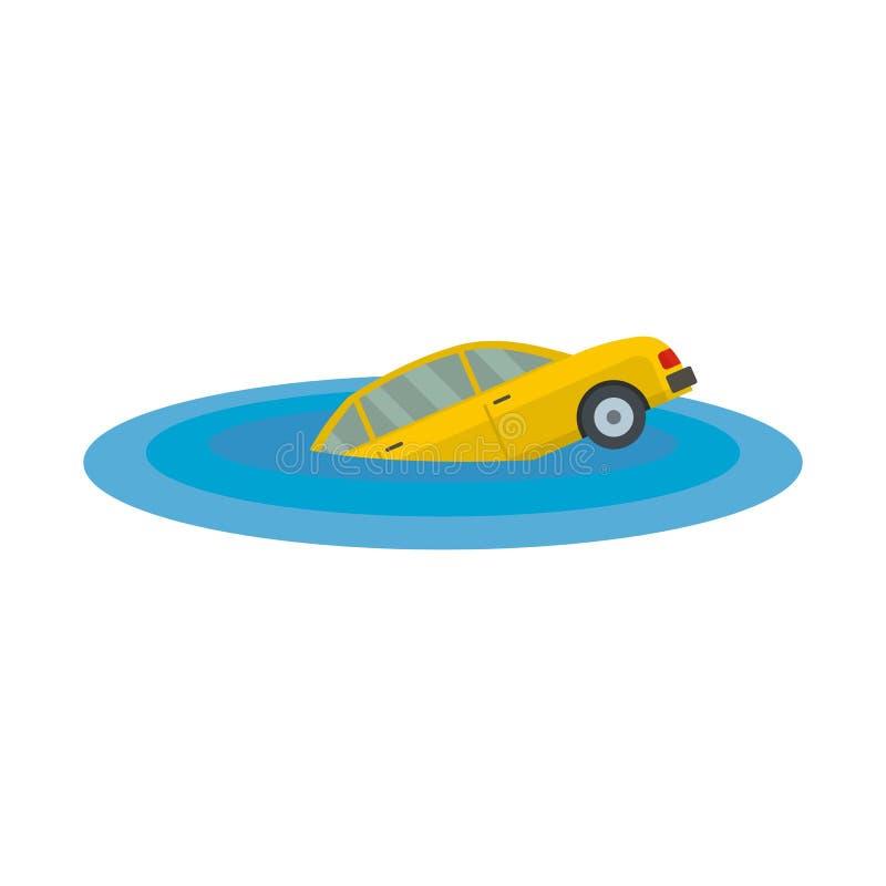 Icône de descente de voiture, style plat illustration de vecteur