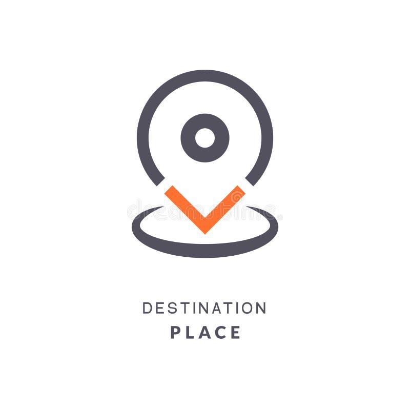 Icône de destination de goupille de carte Marqueur plat de vecteur de signe d'endroit de GPS Signe de goupille de destination de  illustration libre de droits