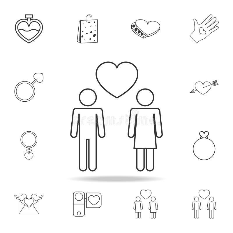icône de deux amants Ensemble d'icônes d'élément d'amour Conception graphique de qualité de la meilleure qualité Signes, icône de illustration libre de droits
