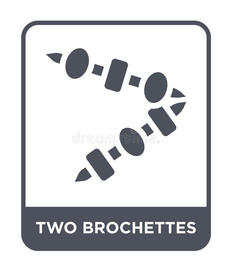 icône de deux brochettes dans le style à la mode de conception icône de deux brochettes d'isolement sur le fond blanc deux broche illustration de vecteur