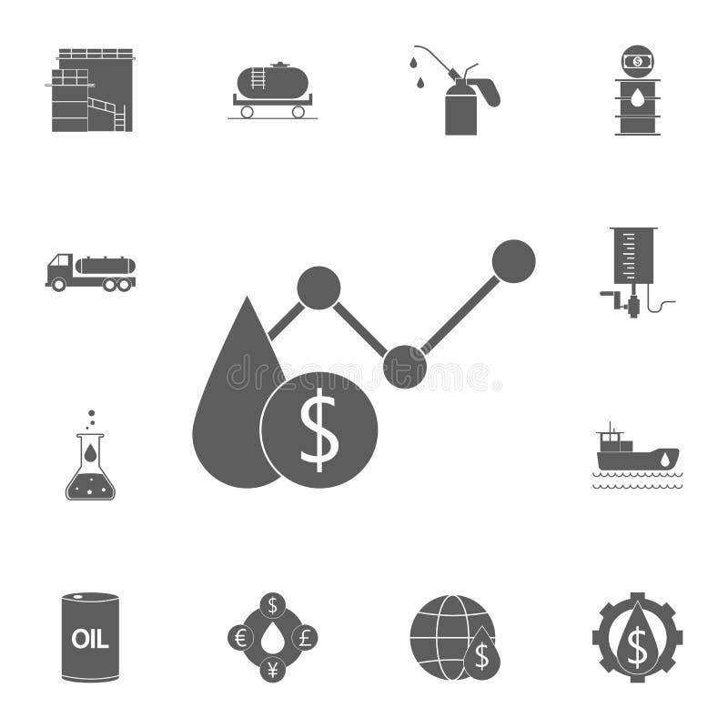 icône de diagramme de prix du pétrole Ensemble détaillé d'icônes d'huile Signe de la meilleure qualité de conception graphique de illustration stock