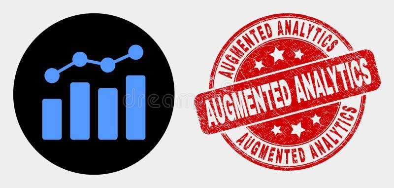 Icône de diagramme de tendance de vecteur et affliger le joint augmenté de timbre d'Analytics illustration stock