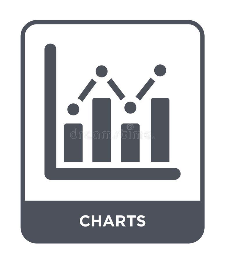 icône de diagrammes dans le style à la mode de conception icône de diagrammes d'isolement sur le fond blanc symbole plat simple e illustration libre de droits
