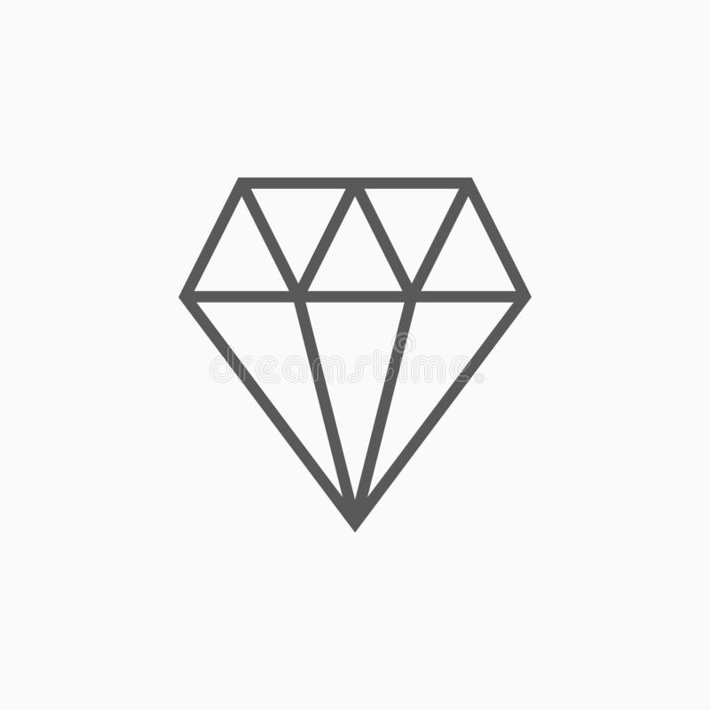 Icône de diamant, gemme, cristal, bijou, bijoux illustration libre de droits