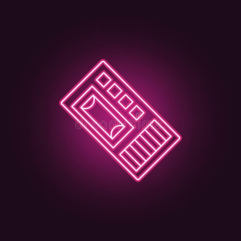 Icône de dictaphone Éléments d'enquête de crime dans les icônes au néon de style E illustration de vecteur