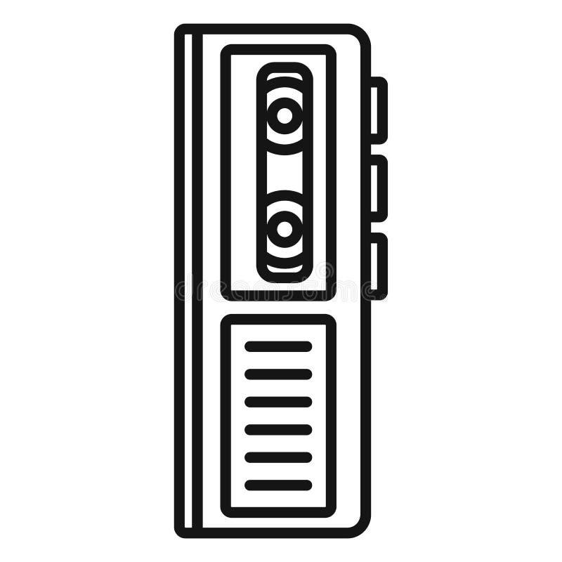 Icône de dictaphone de cassette, style d'ensemble illustration de vecteur