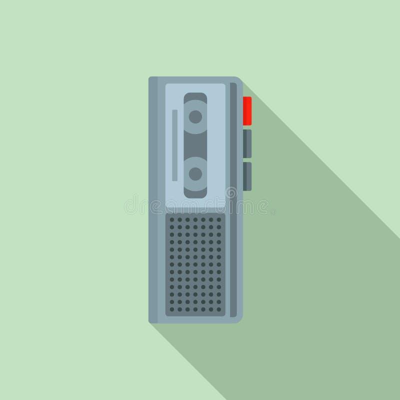 Icône de dictaphone de cassette, style plat illustration de vecteur