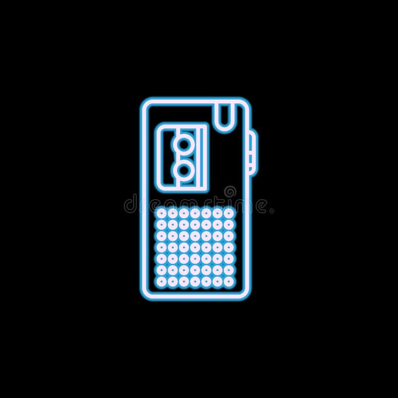 Icône de dictaphone dans le style au néon Un de l'icône de collection de journalisme peut être employé pour UI, UX illustration stock