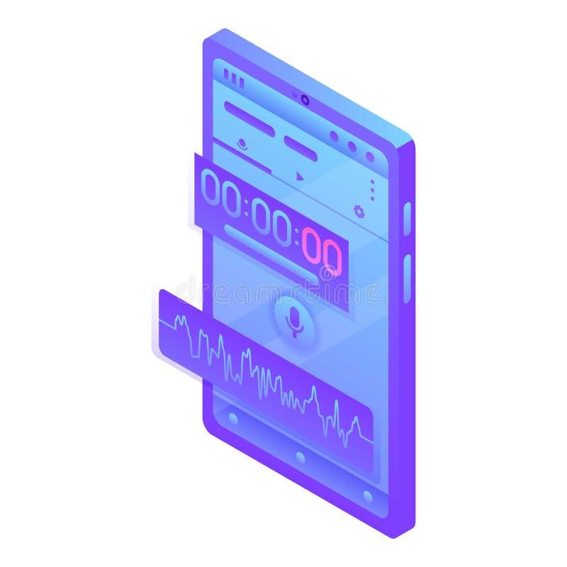 Ic?ne de dictaphone de Digital, style isom?trique illustration libre de droits
