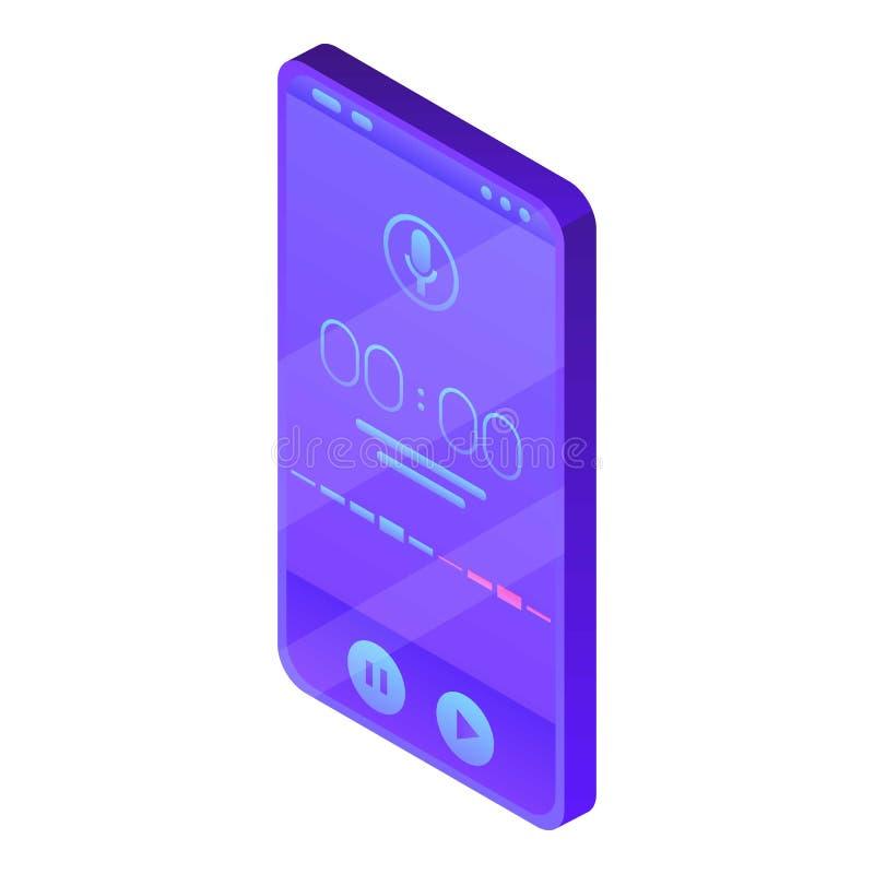 Icône de dictaphone de Smartphone, style isométrique illustration de vecteur