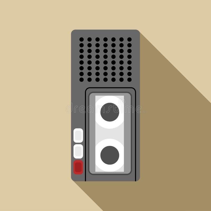 Icône de dictaphone, style plat illustration de vecteur