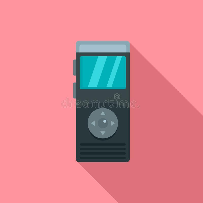 Icône de dictaphone, style plat illustration stock