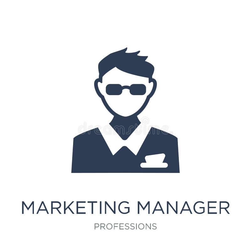 Icône de directeur marketing Ico plat à la mode de directeur marketing de vecteur illustration libre de droits