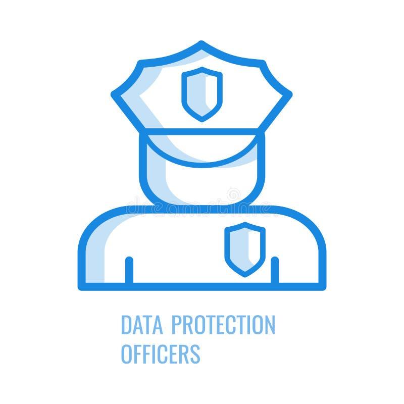 Icône de dirigeant de protection des données - symbole bleu d'ensemble de silhouette humaine abstraite dans l'uniforme de sécurit illustration stock
