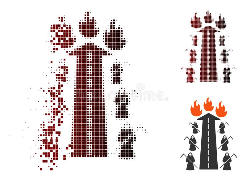 Icône de disparition du feu de Dot Halftone Road To Hell illustration de vecteur