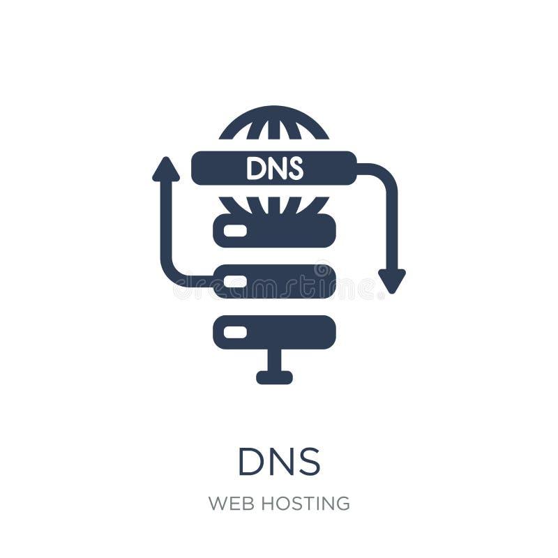 Icône de DNS Icône plate à la mode du vecteur DNS sur le fond blanc de W illustration libre de droits