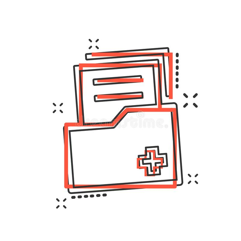 Icône de document de bande dessinée de vecteur dans le style comique Fichier de données d'archives s illustration libre de droits
