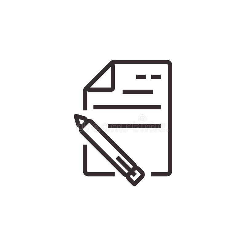 Icône de document et de vecteur de crayon, pixel Eps10 parfait Symbole de bureau illustration libre de droits