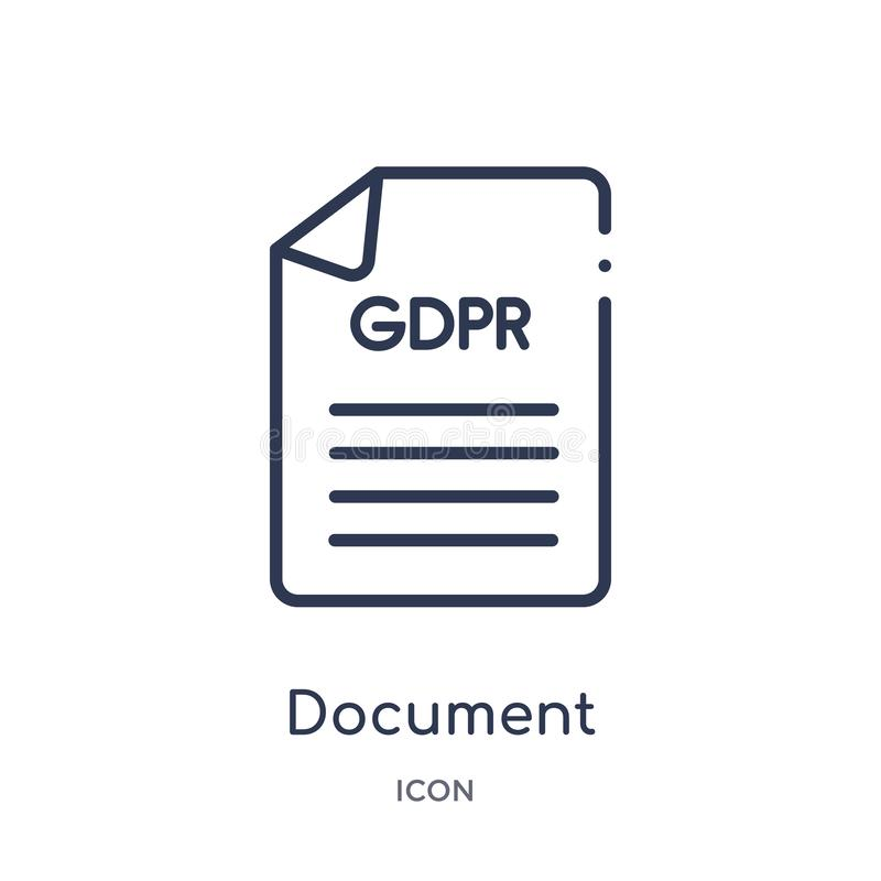 Icône de document linéaire de collection d'ensemble de Gdpr Ligne mince icône de document d'isolement sur le fond blanc document  illustration stock