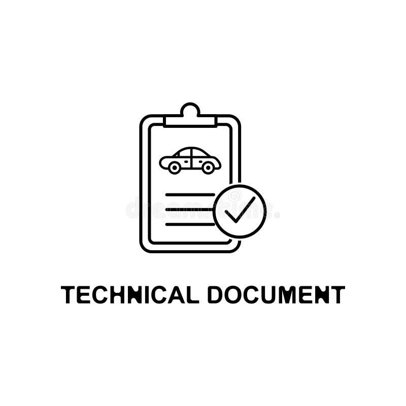 icône de document technique de voiture Élément de la réparation de voiture pour les apps mobiles de concept et de Web L'icône dét illustration de vecteur