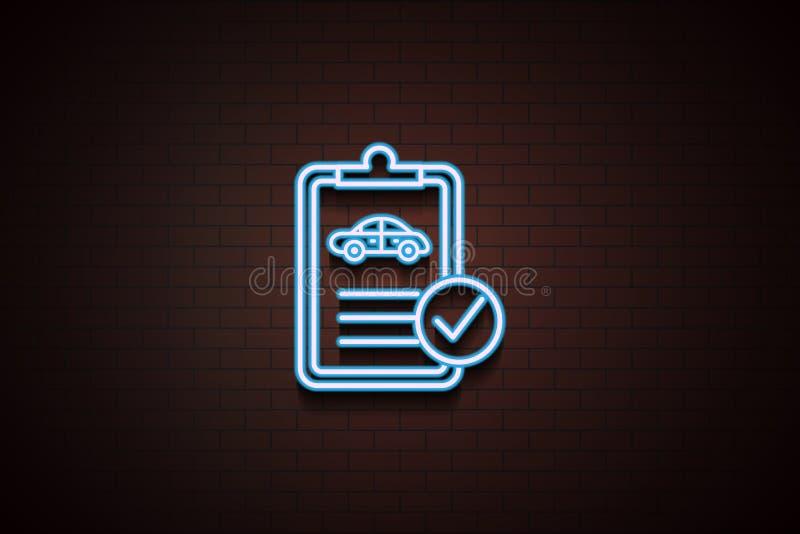 icône de document technique de voiture dans le style au néon sur le mur de briques illustration de vecteur