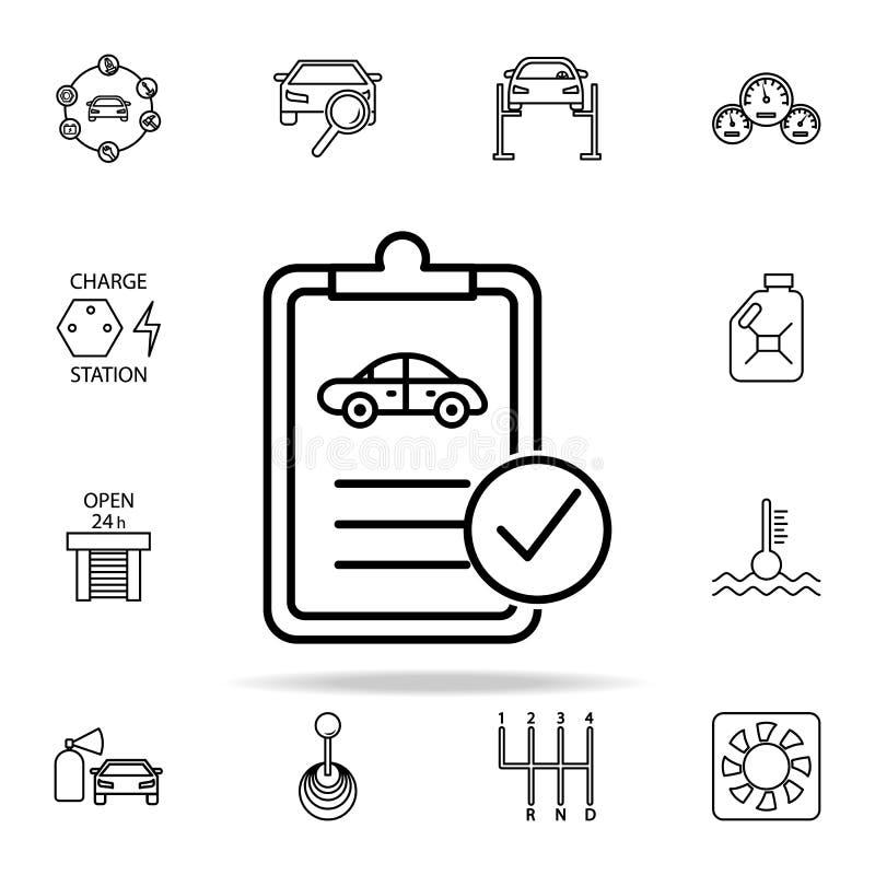 icône de document technique de voiture Les voitures entretiennent et l'ensemble universel d'icônes de pièces de réparation pour l illustration stock