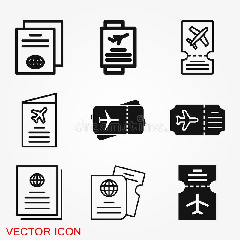 Icône de documents de voyage, passeport avec de billets l'icône à plat d'isolement Voyage et tourisme de concept illustration stock